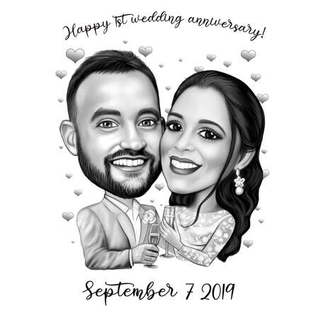 Wedding Anniversary Couple Caricature Gift: Black and White Style - example