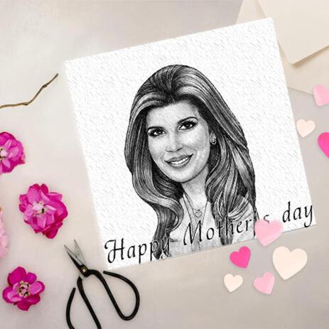 Festa della mamma stampata attingendo carta fotografica disegnata in stile monocromatico matite - example