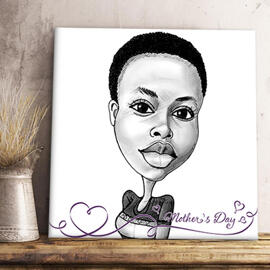 Print on Canvas: Caricature Drawing from Photo with Text