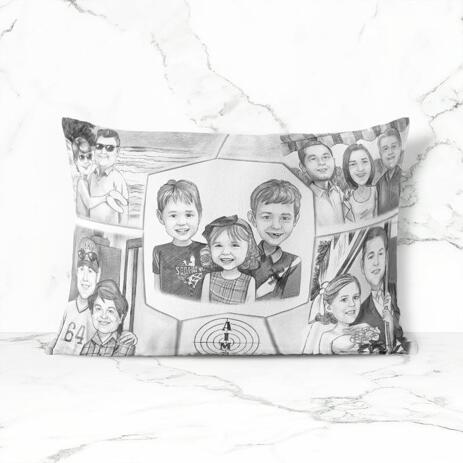 Family Collage Caricature as Pillow - example