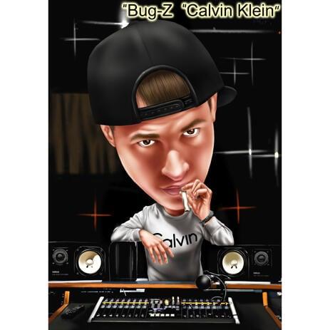 Music DJ Cartoon Portrait with Custom Background from Photos - example
