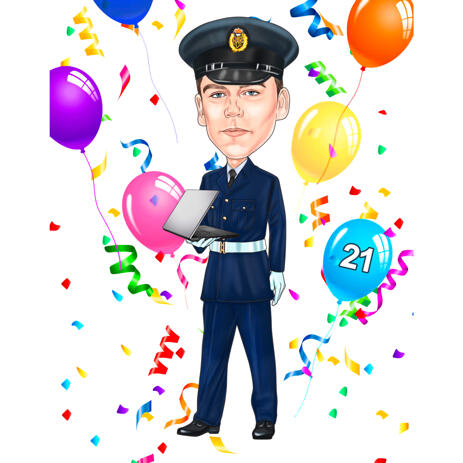 Birthday Caricature Portrait for Male in Any Profession Uniform from Photos - example