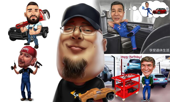 Mechanic Caricature large example