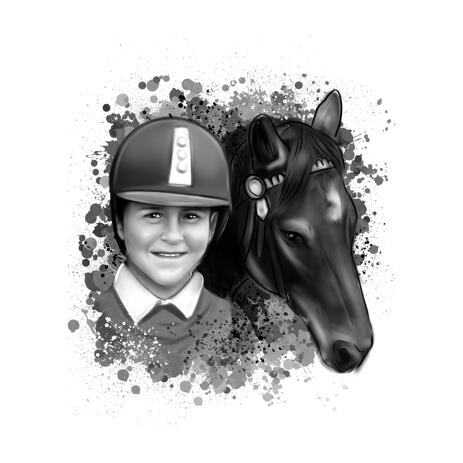 Horse Rider Head and Shoulders Caricature Portrait in Watercolor Black and White for Custom Equestrian Gift - example