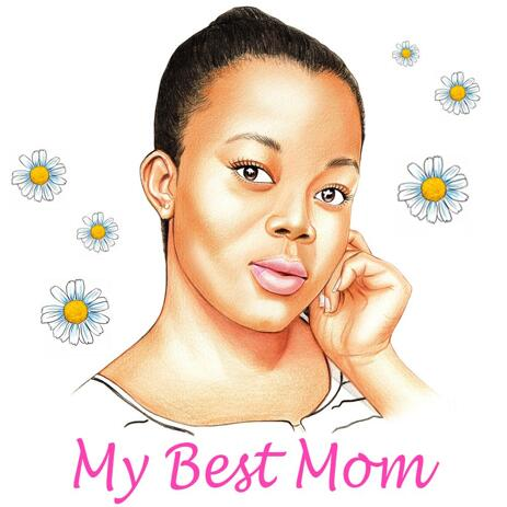 Simple Pencils Portrait Drawing in Honor of Mother's Day on Demand - example