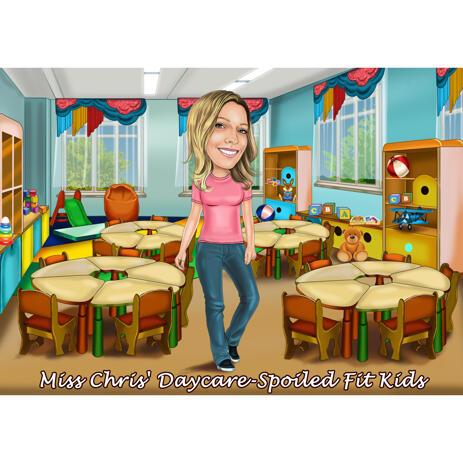 Caricature de dessin animé de professeur de maternelle à partir de photos - example