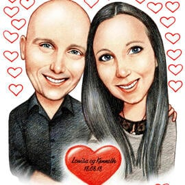 Romantic Couple Caricature from Photos with Custom Background