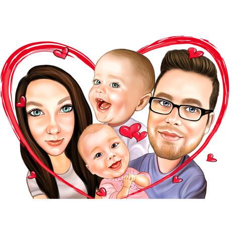 Portrait de famille avec coeur à partir de photos - example