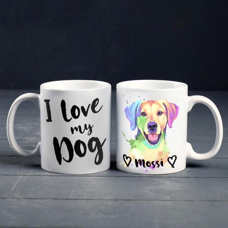 Custom Dog Mug - I Love My Dog with Custom Watercolor Portrait - example