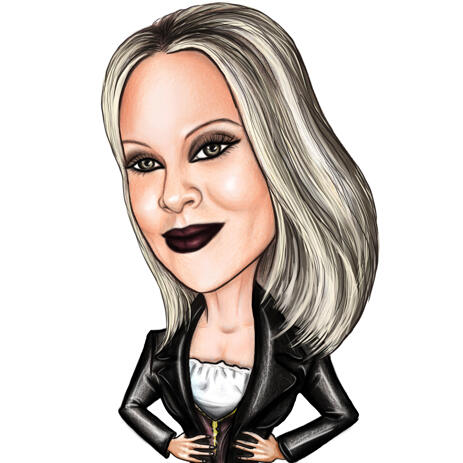 Person in Colored Halloween Gothic Style Caricature from Photos - example