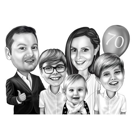 Family Caricature Portrait from Photos in Black and White Style for Custom Relatives Gift - example