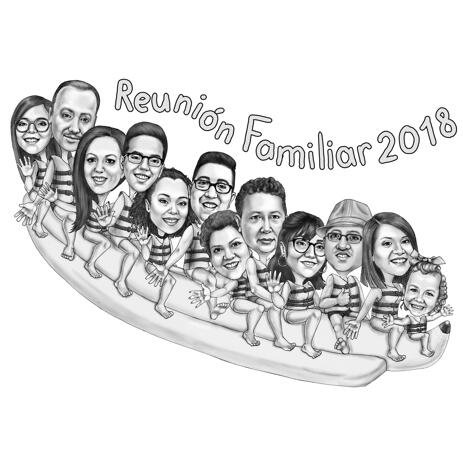 Familientreffen Karikatur von Fotos - example