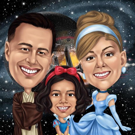 Fully Customized Family Caricature with Any Different Movie Characters from Photos - example
