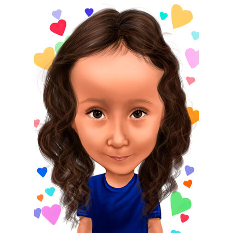 Kid Cartoon Caricature from Photos on Multicolored Hearts Background - example