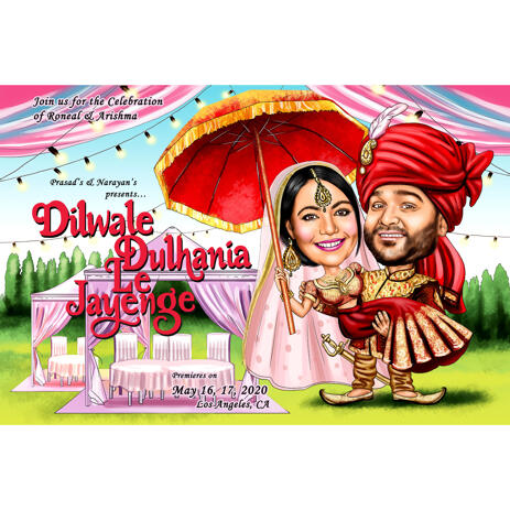 Indian Wedding Caricature of Bride and Groom from Photos for Invite Card - example