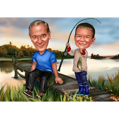 Father and Son Fishing Caricature with Lake Background - example