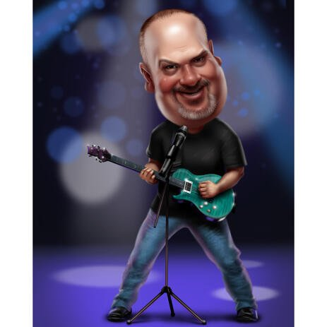 Funny Personalized Rockstar Caricature in Colored Style with Background - example