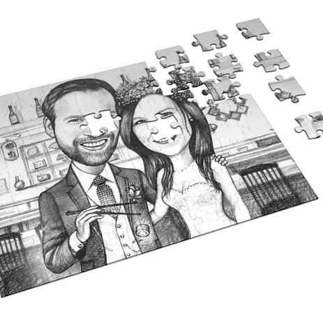 Bride and Groom Caricature on Puzzle - example
