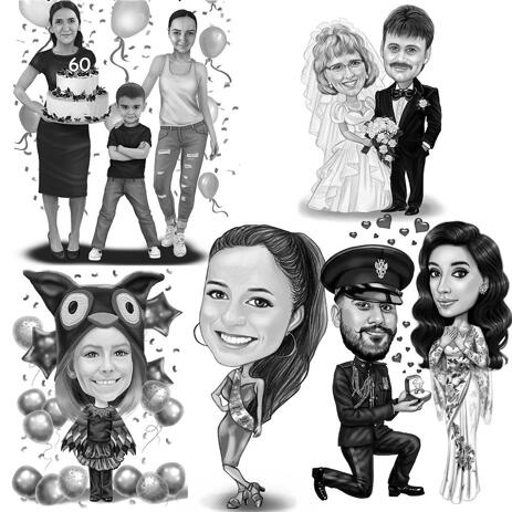 Any Holiday Full Body Caricature in Black and White Style - example