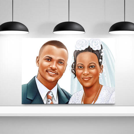 Just Married Caricature Printed as Canvas - example