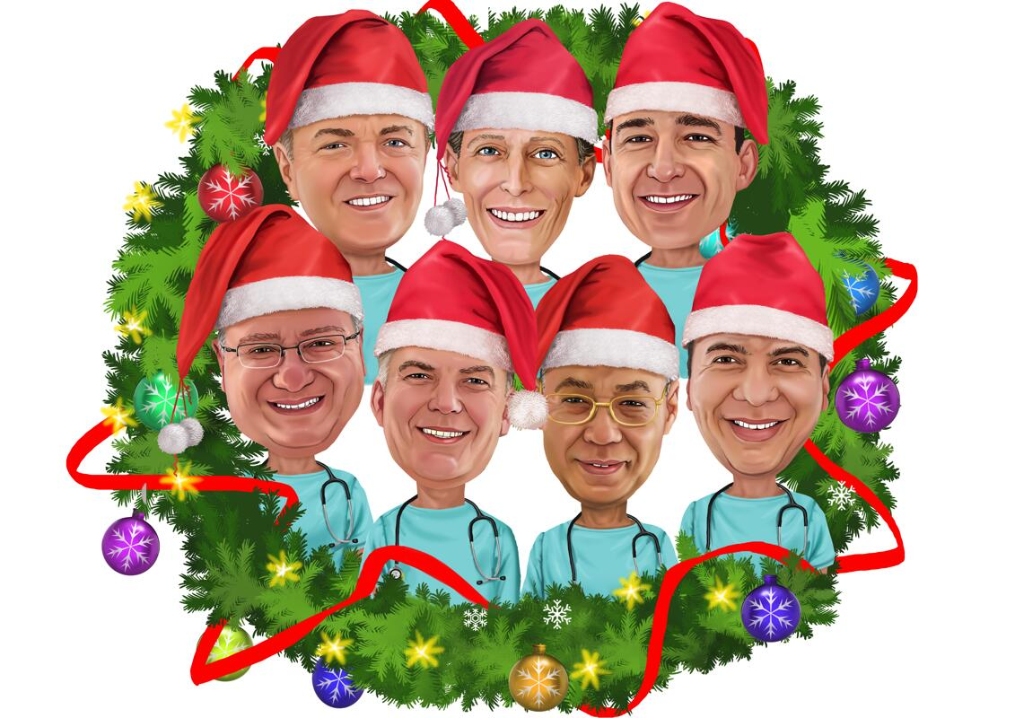 Corporate Christmas Caricature For Company S Employees