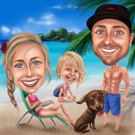 Family on Vacation: Custom Full Body Family Caricature from Photos - example
