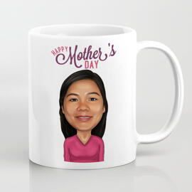 Photo Mug Print: Wrap-around Print on Mug with Your Mother Cartoon Drawing
