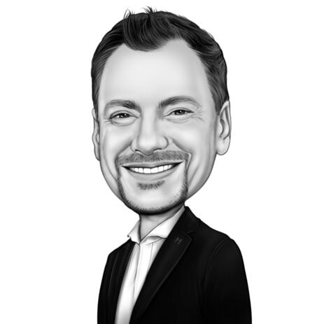 Business Avatar Caricature in Black and White Style from Photo - example