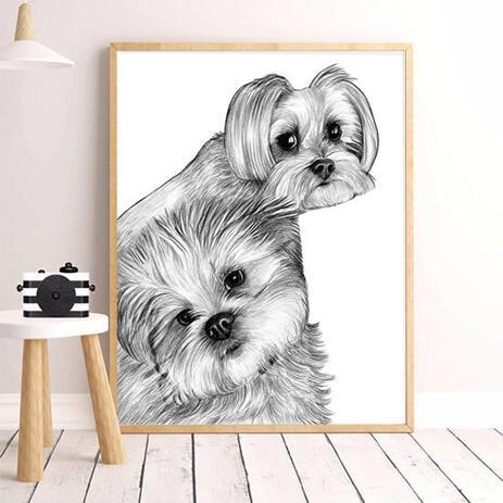 Черно-белый портрет собаки на постере. - example