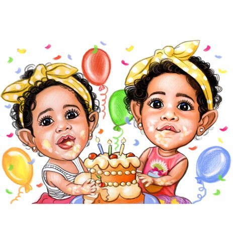 Children Cartoon Drawing from Photos in High Exgerated Caricature Style for Happy Birthday Gift - example