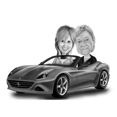 Creative Couple in a Car Caricature from Photos - example