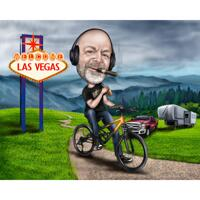 Mountain Biker Traveler Caricature in Color Style with Custom Background