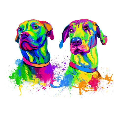 Couple of Proud-Hearted Great Dane Dogs Caricature Portrait in Rainbow Watercolor Style - example