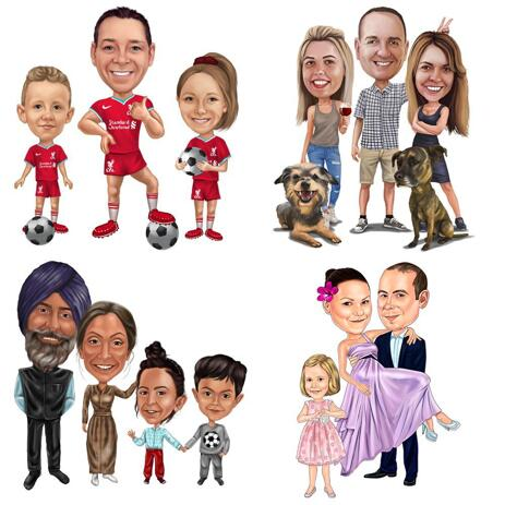 Full Body Family Caricature Portrait in Color Style - example