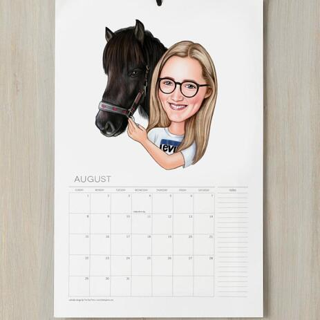 Girl and Horse Caricature Printed as Calendar - example