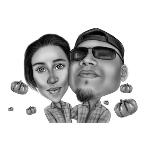 Black and White Style Couple Caricature with Pumpkin Background for Halloween Gift - example