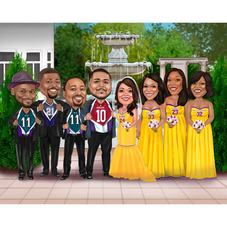 Group Bridal Party Colored Caricature on Custom Background Hand Drawn from Photos - example