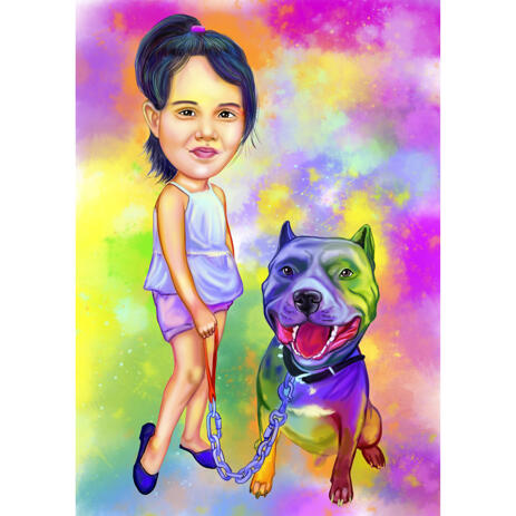 Full Body Owner with Pet: Watercolor Rainbow Portrait with Background - example