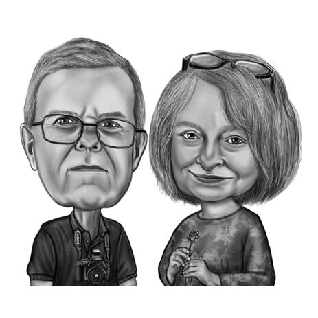 Custom Couple Caricature from Photos - Black and White Pencil Style Couple Caricature Art - example