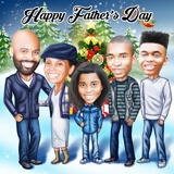 Kundenspezifische Zeichnung der Familienkarikatur in farbiger Digital-Art