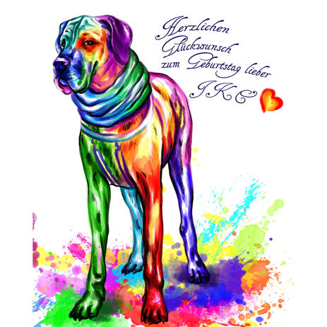 Full Body Great Dane Portrait in Bright Watercolor Style from Photo - example