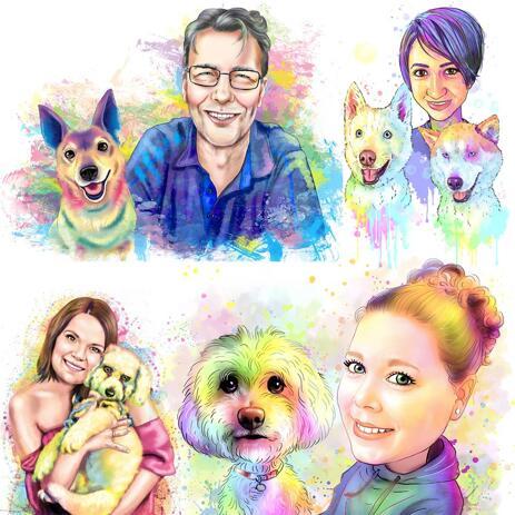 Proprietário com retrato de animal de estimação em aquarela para colorir Pastel - example