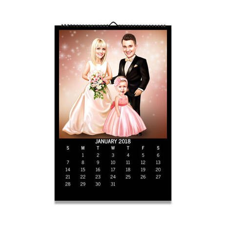 Wedding Family Portrait from Photos on Calendar - example