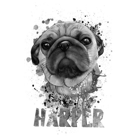 Watercolor Graphite Style Pug Portrait from Photos - example