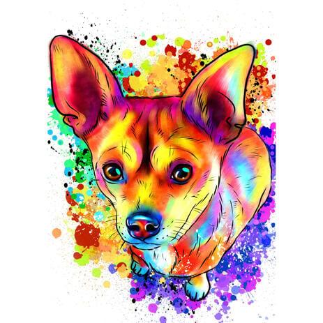 Bright Watercolor Rainbow Style Corgi Full Body Portrait from Photos - example