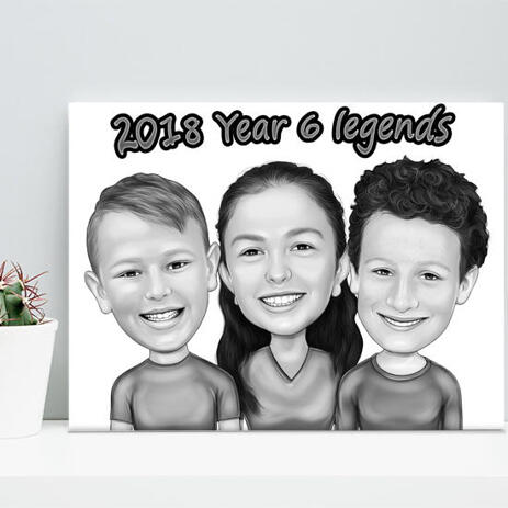 Children Caricature Printed on Canvas - example