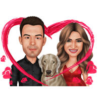 Couple et Labrador en caricature colorée de coeur à partir de photos pour cadeau d'amoureux des animaux de compagnie