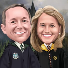 Harry Potter Fans Couple Caricature for Anniversary Gift