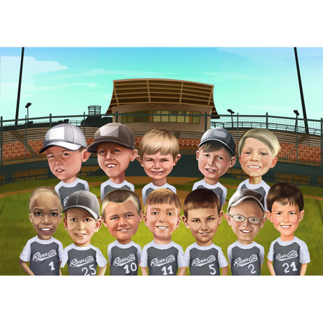 Children Sports Group Caricature from Photos - example