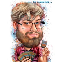 Person Caricature Portrait with Playing Cards in Watercolor Style from Photo